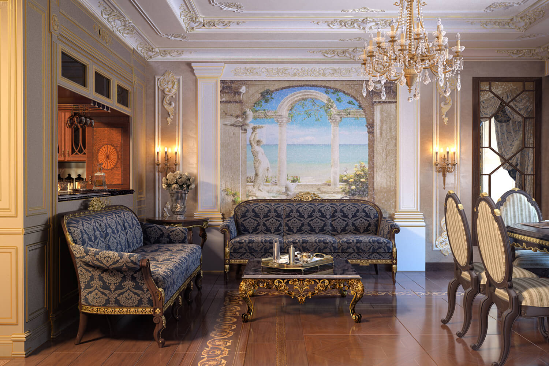 Дизайн проект трехкомнатной квартиры в классическом стиле фото
